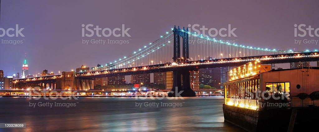 New York City Manhattan Bridge panorama at night royalty-free stock photo