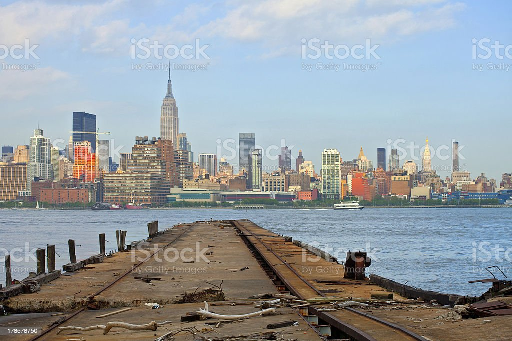 New York City, Manhattan buildings view from Harbor stock photo