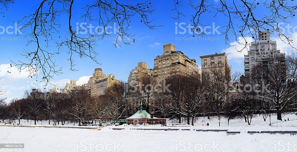 New York City Manhattan Central Park  panorama in winter royalty-free stock photo