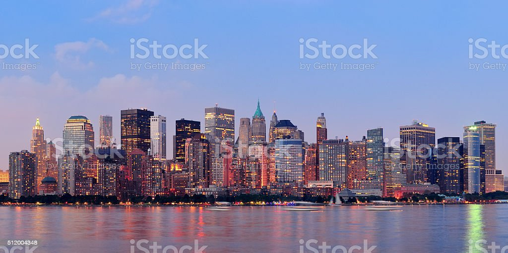 New York City Manhattan downtown skyline stock photo