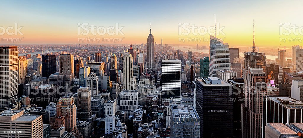New York City. Manhattan downtown skyline. stock photo