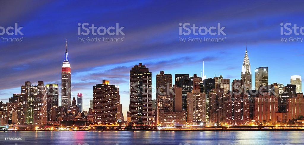 New York City Manhattan midtown at dusk royalty-free stock photo