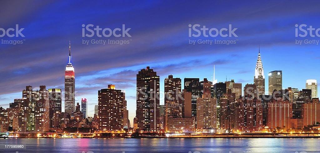 New York City Manhattan midtown at dusk stock photo