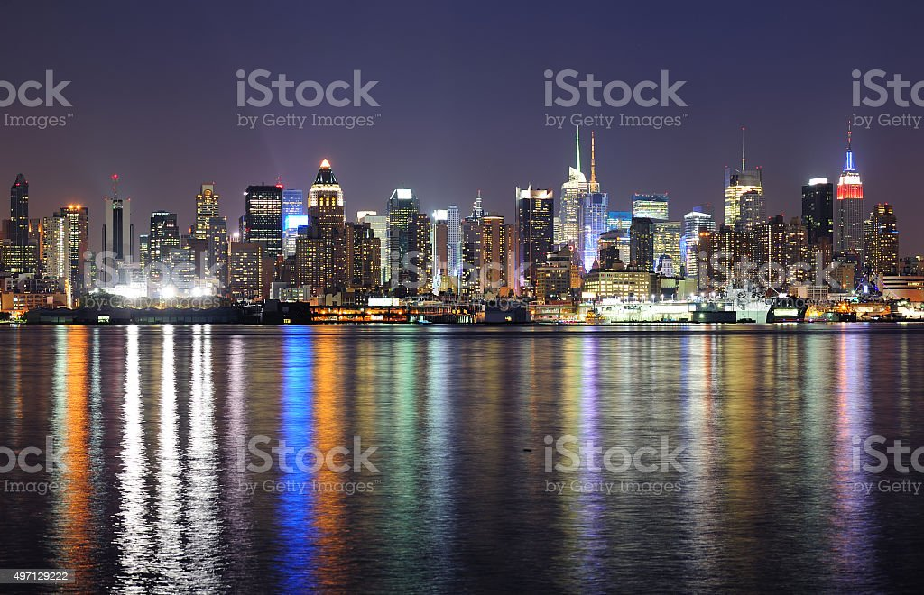 New York City Manhattan midtown skyline at night stock photo