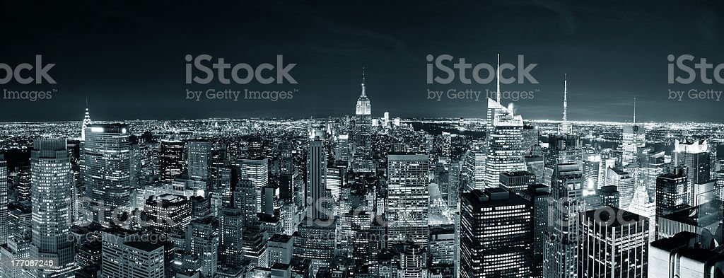 New York City Manhattan skyline at night royalty-free stock photo