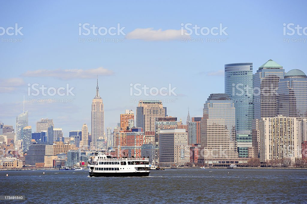 New York City Manhattan skyscrapers and boat royalty-free stock photo