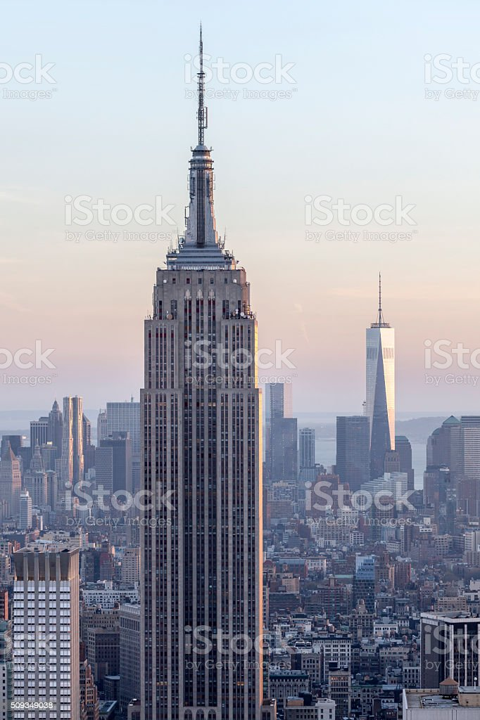 New York City, Manhattan, Skyscrapers at Dusk stock photo