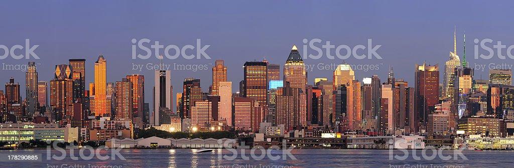 New York City Manhattan sunset panorama royalty-free stock photo