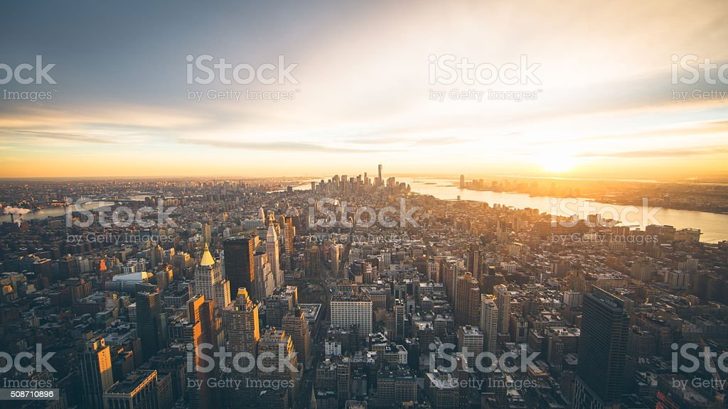 New York City Manhattan Sunset stock photo