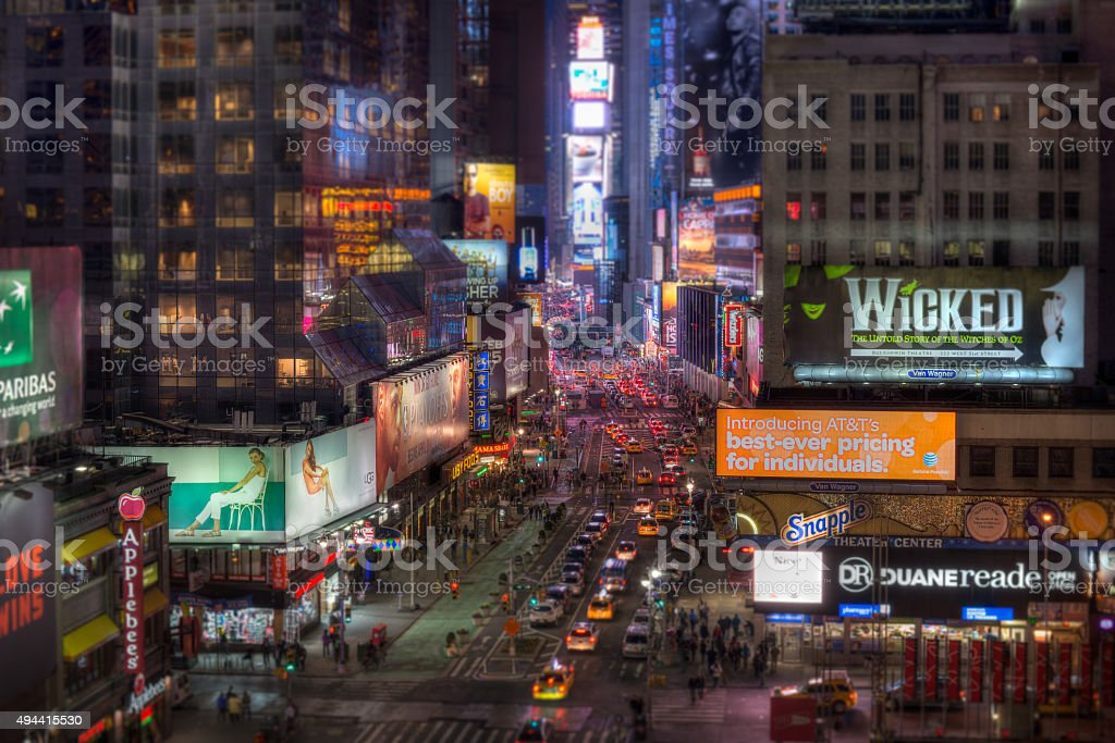 New York City Manhattan Times Square at Night HDR tiltshift stock photo
