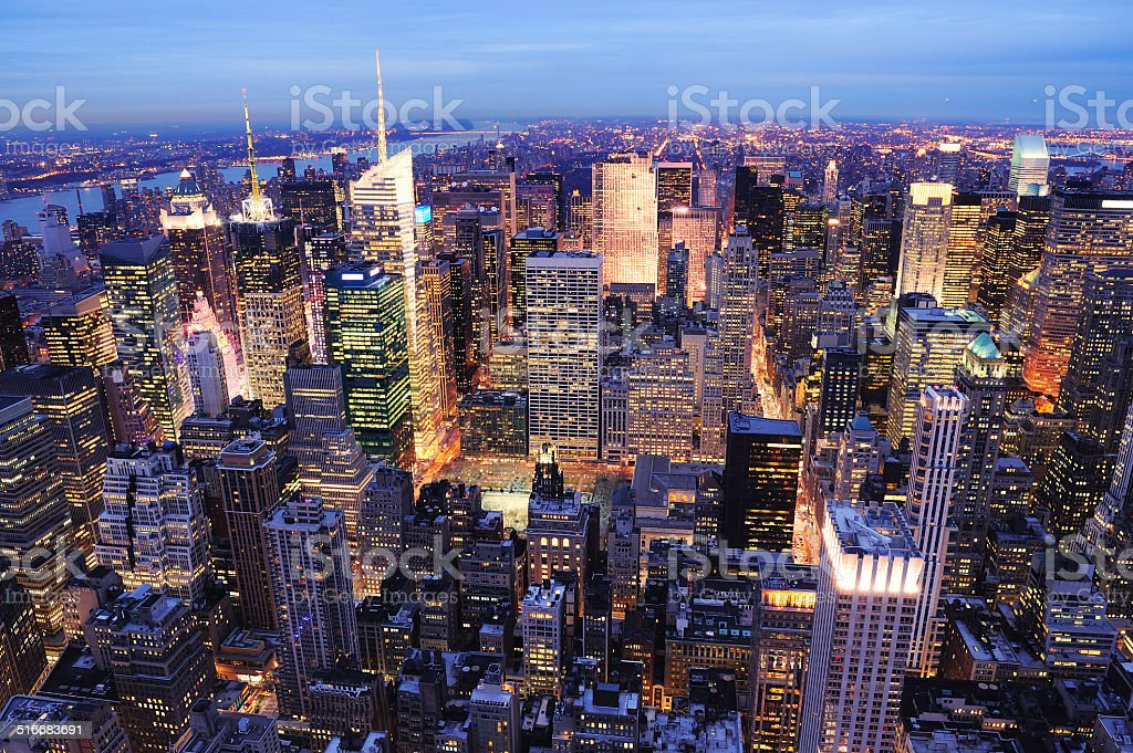 New York City Manhattan Times Square night stock photo