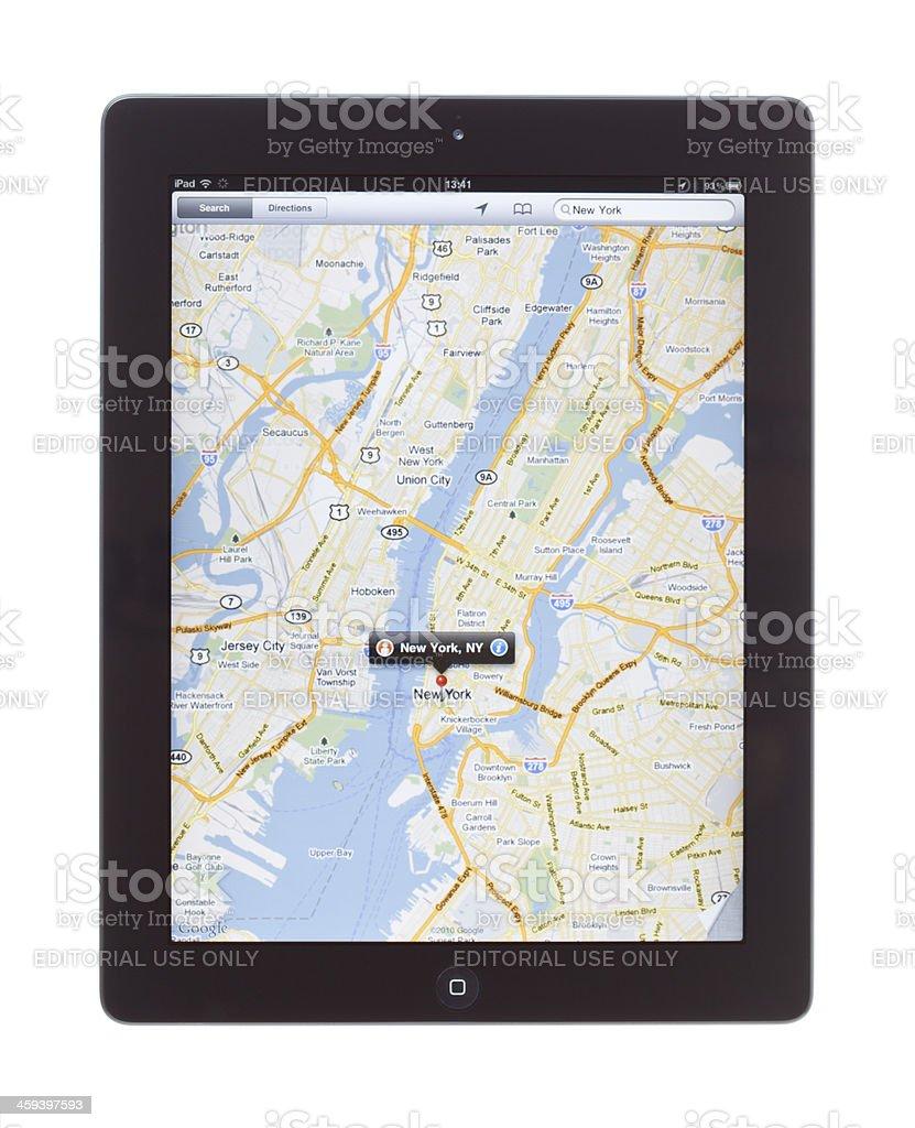 New York City Map on ipad2 stock photo