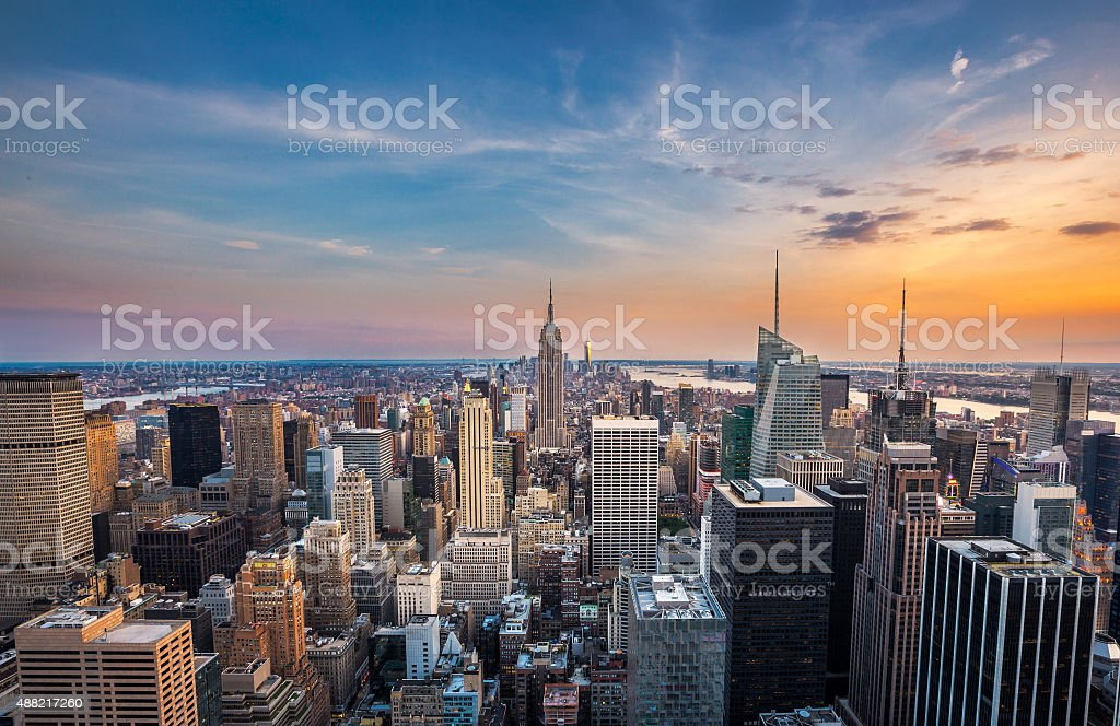New York City midtown skyline at sunset. stock photo