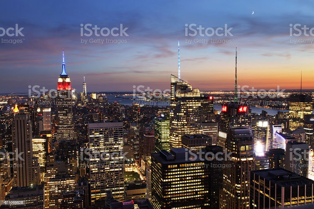 New York City Midtown with Empire State Building at Dusk stock photo