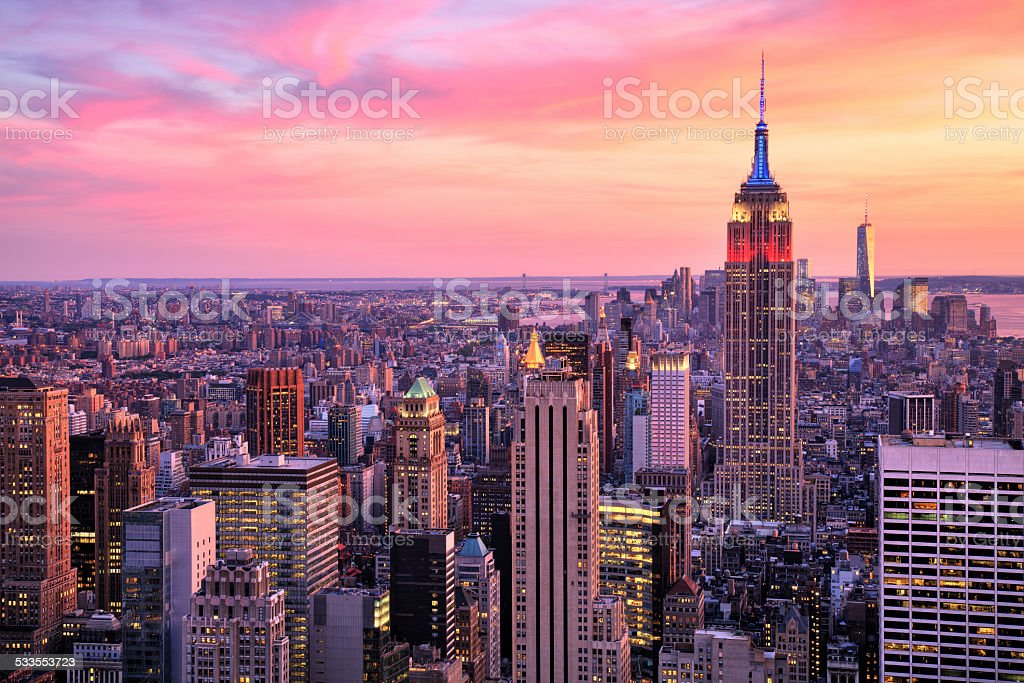 New York City Midtown with Empire State Building at Sunset stock photo