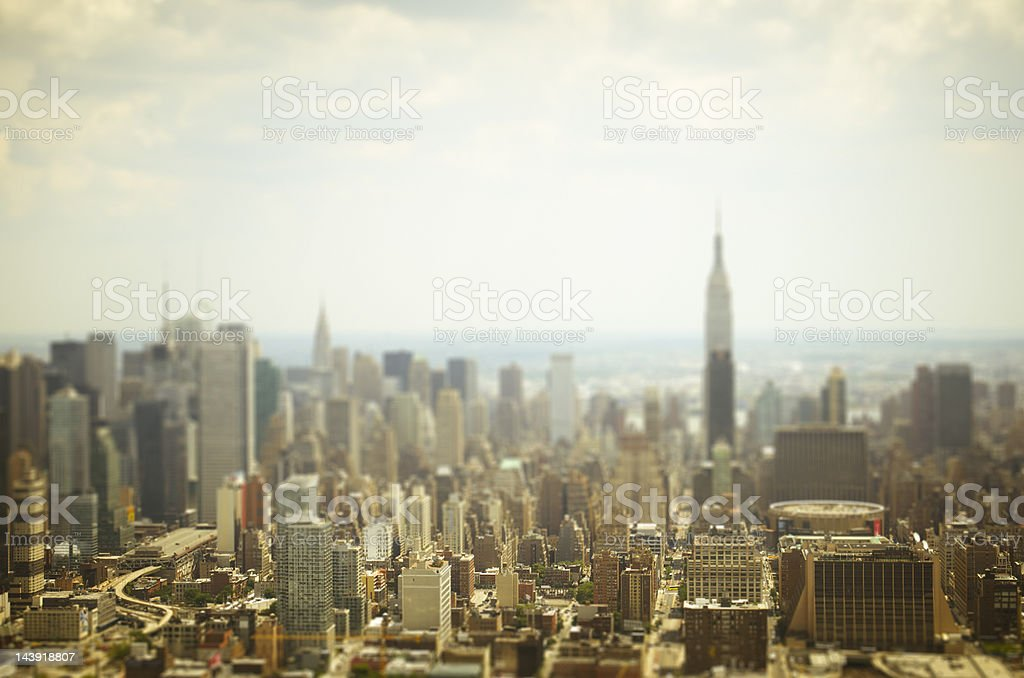 New York City miniature town from an Helicopter stock photo