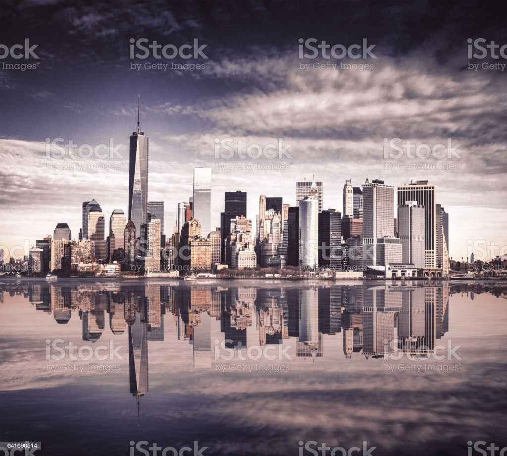 new york city moody skyline stock photo