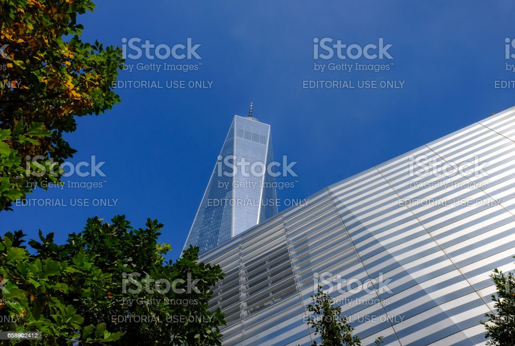 New York City, New York, USA - September 3 2016: New buildings seen at the site of the once standing World Trade Center, including the Freedom Tower and the new shopping mail and memorial as seen in central New York city. stock photo