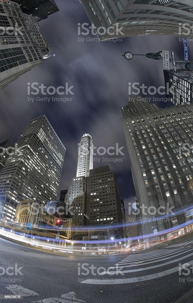 New York City night fisheye view stock photo