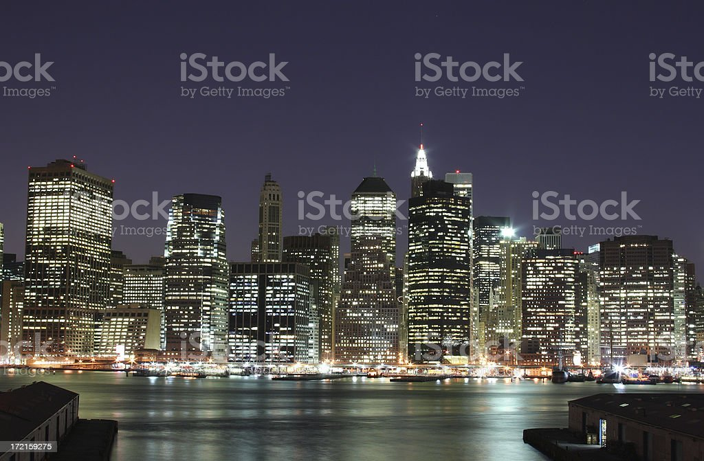 New York City Night Lights royalty-free stock photo