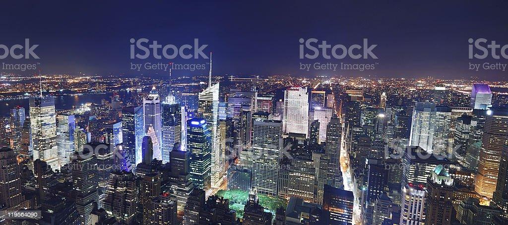 New York City night panorama royalty-free stock photo
