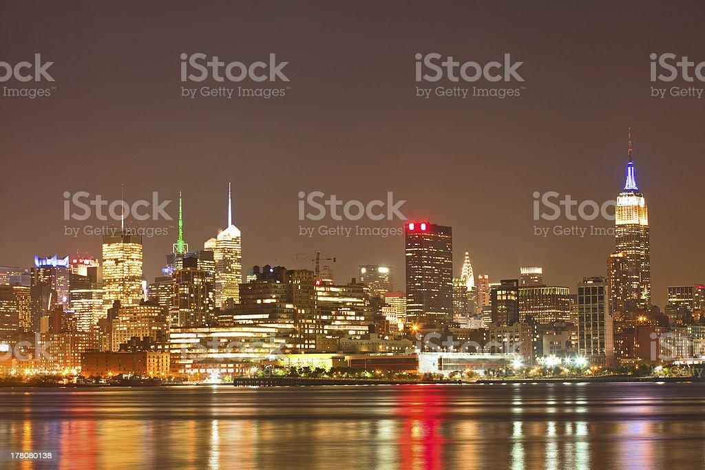 New York city night skyline panorama of Manhattan buildings royalty-free stock photo