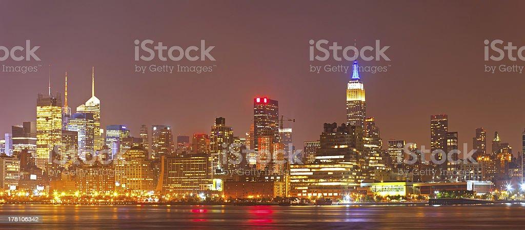 New York city night skyline panorama of Manhattan royalty-free stock photo