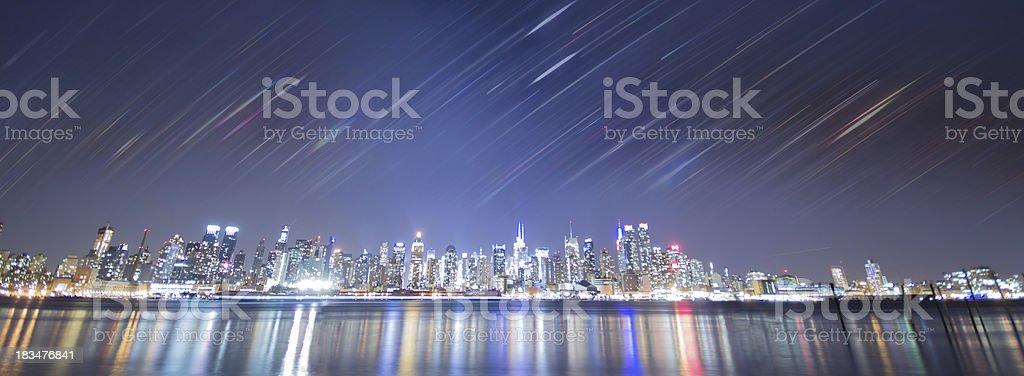new york city night with rainbow stripes royalty-free stock photo