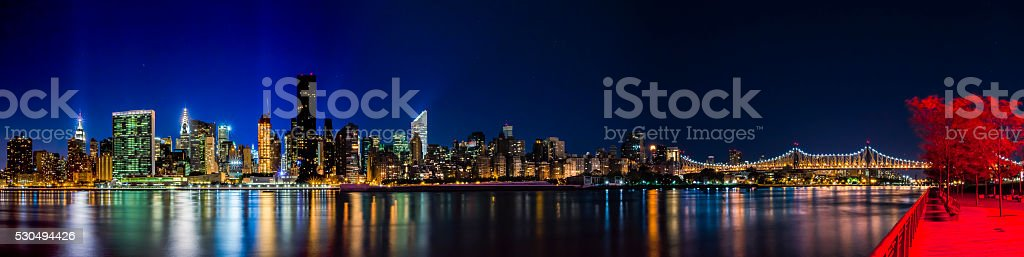 New York City Panorama at Night stock photo