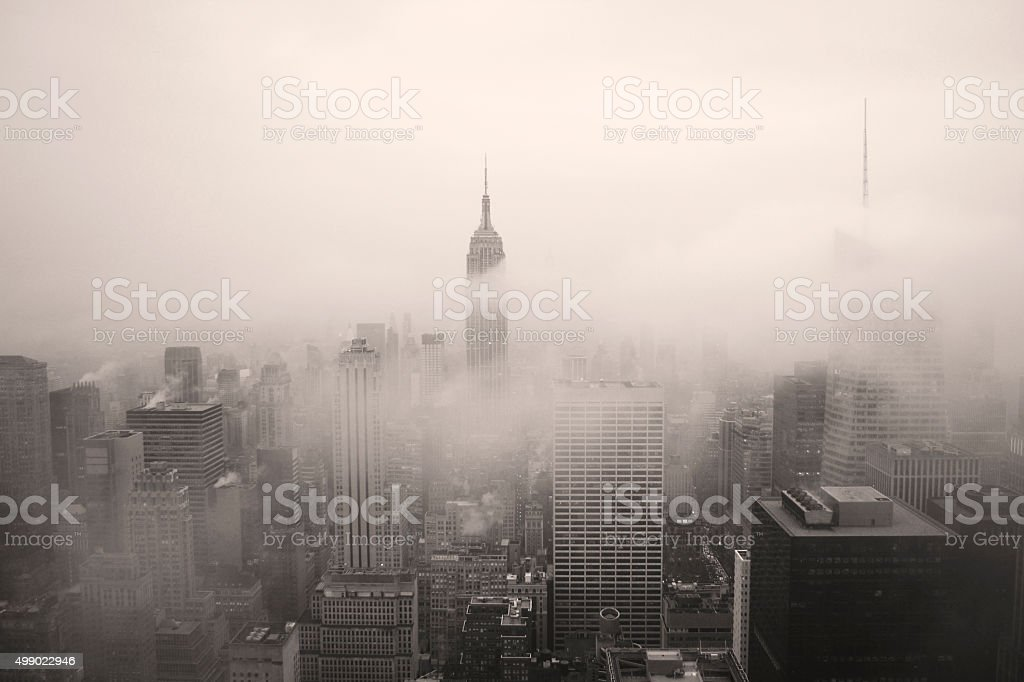 New York City Panorama in Black and White in Fog stock photo