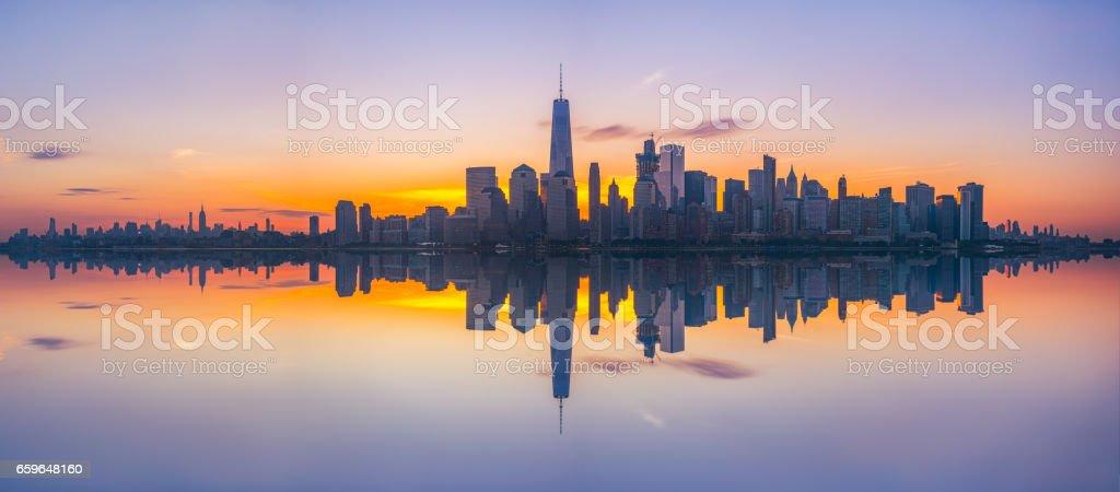 New York City panorama reflections stock photo