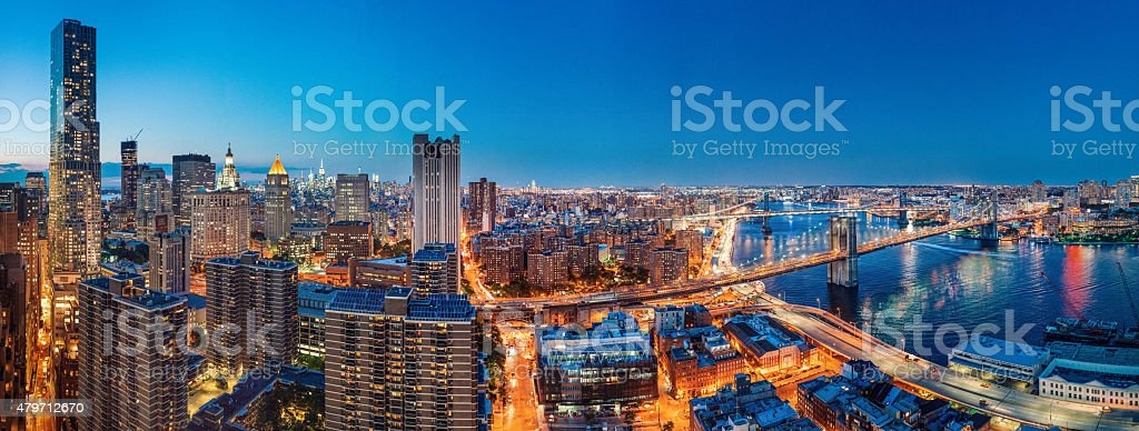 New York City Panoramic Aerial View at Dusk stock photo