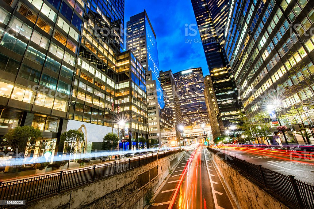 New York City Park Avenue at dusk stock photo