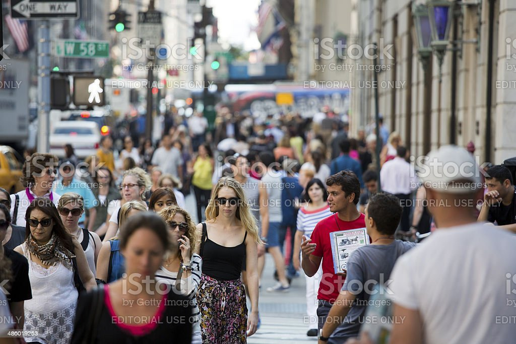 New York City Pedestrians on a Summer Day stock photo