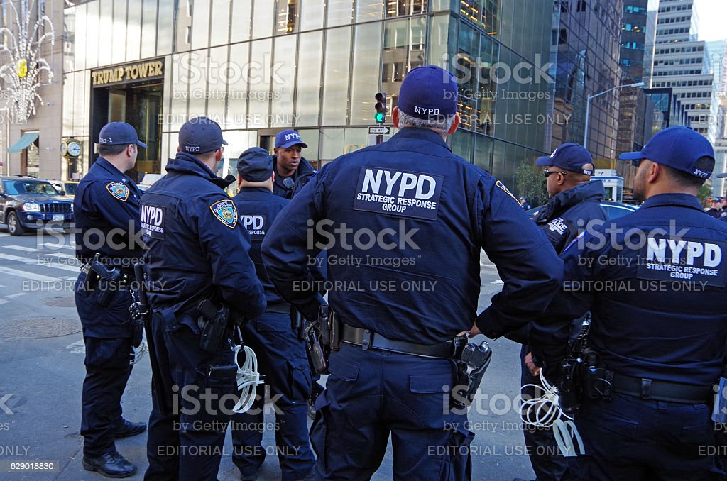 New York City Police Department provide security for Trump Tower stock photo