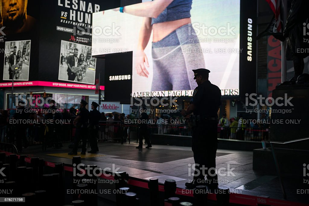 New York City police officer in Times Square stock photo