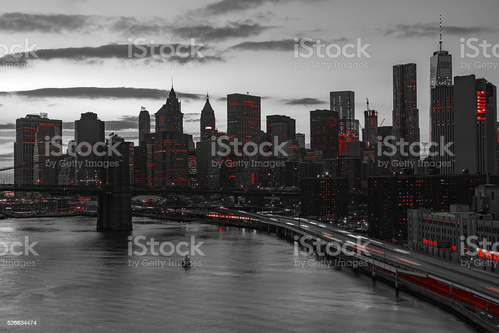 New York City Red Lights in Black and White stock photo