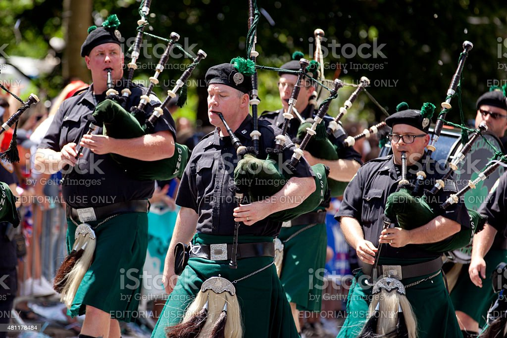 New York City Sanitation Department Bagpipe Marching Band stock photo