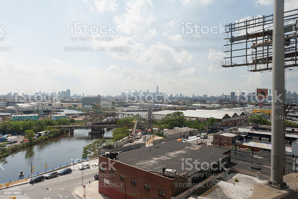 new york city seen in the back stock photo