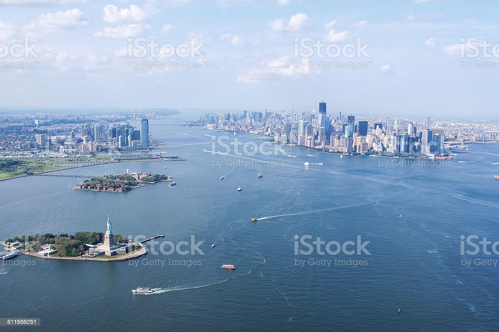 New York City Sky View, Liberty & Ellis Island & Jersey City stock photo