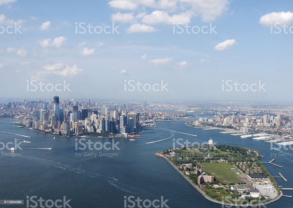 New York City Sky View With Governors Island Infront stock photo