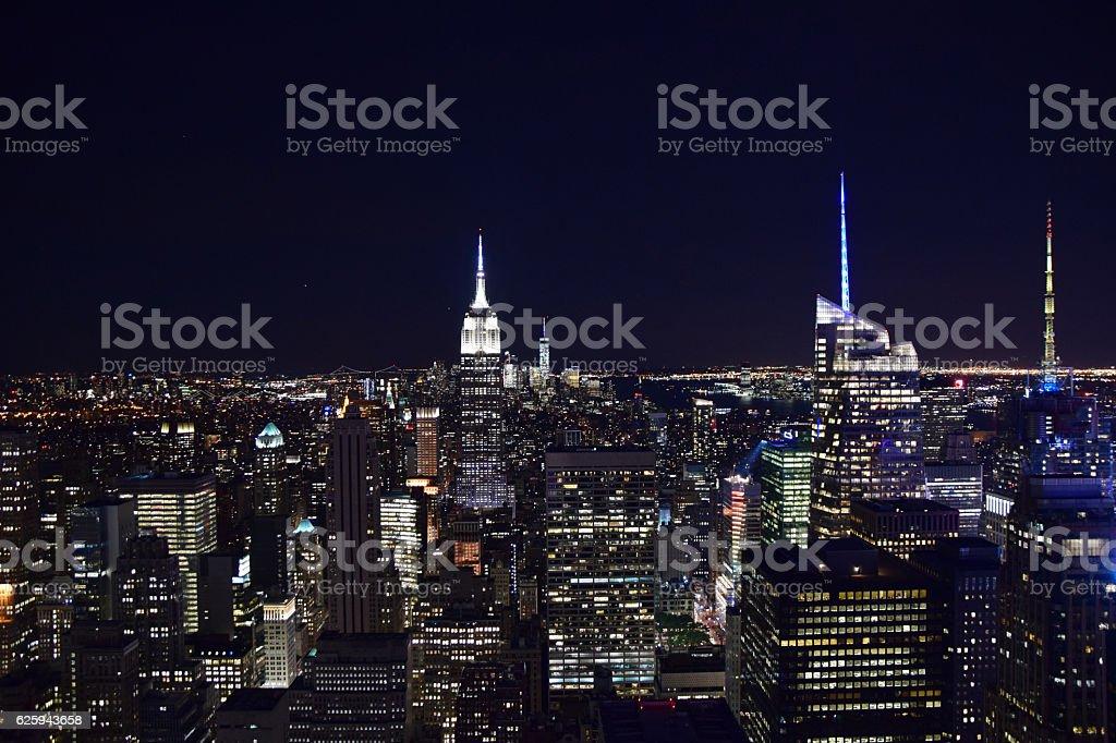 New York City Skyline Aerial at Night stock photo