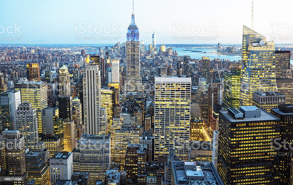 New York City Skyline, Aerial View at Twilight royalty-free stock photo