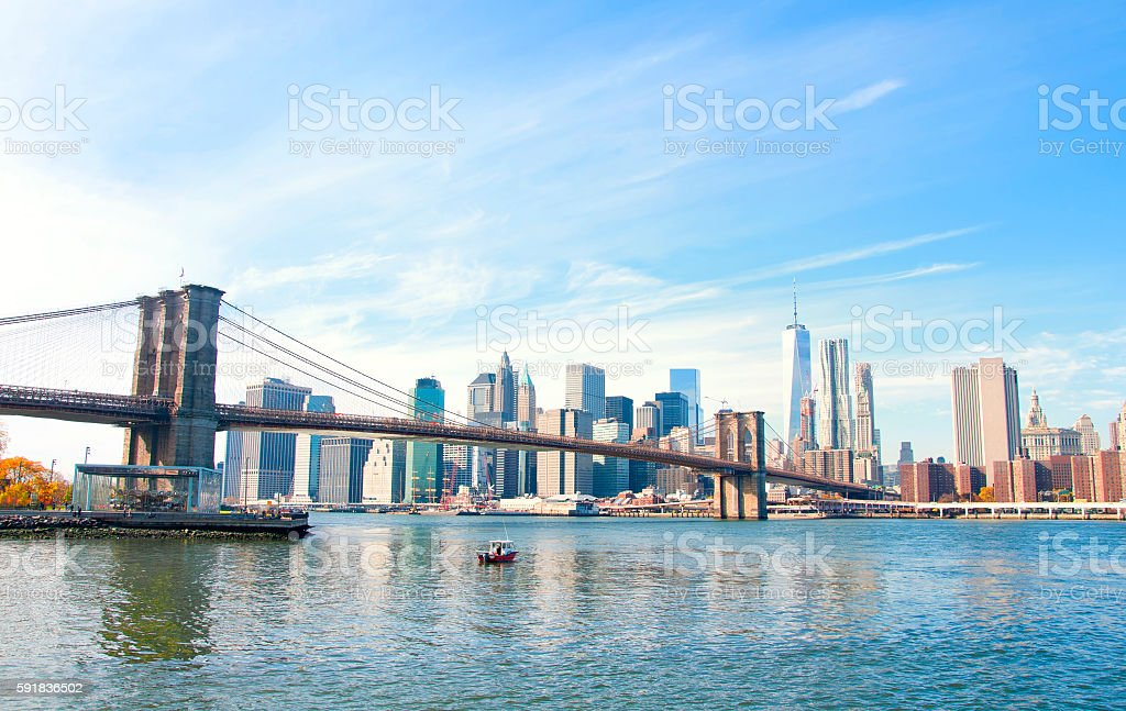 New York City skyline and Brooklyn Bridge. stock photo