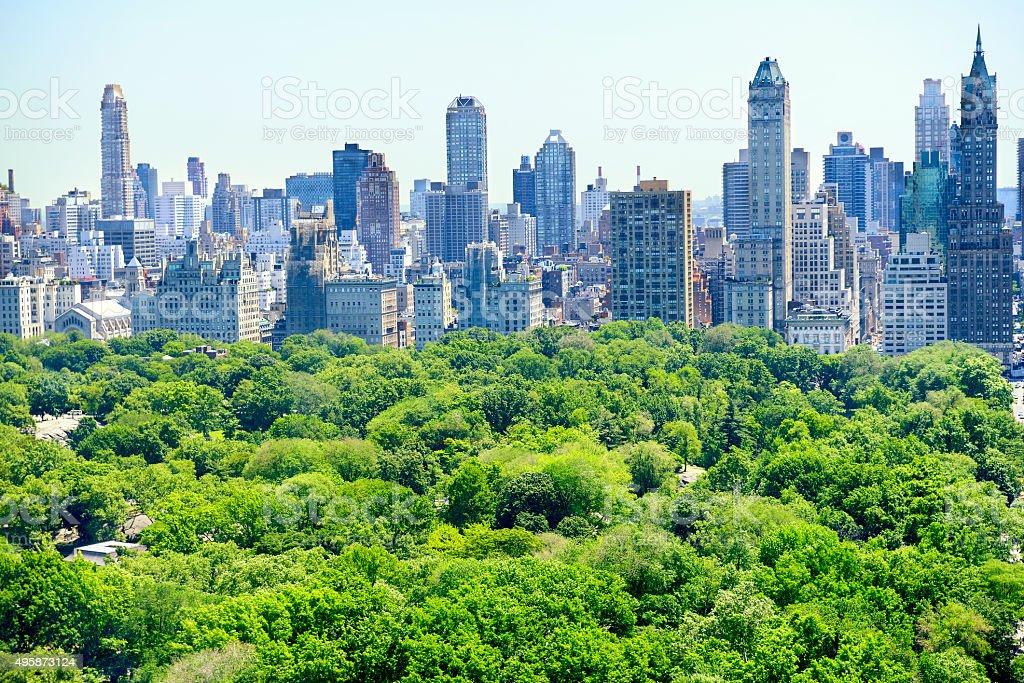 New York City skyline and Central Park stock photo