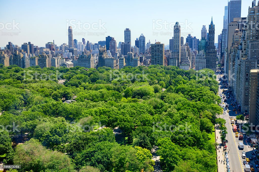 New York City skyline and Central Park stock photo