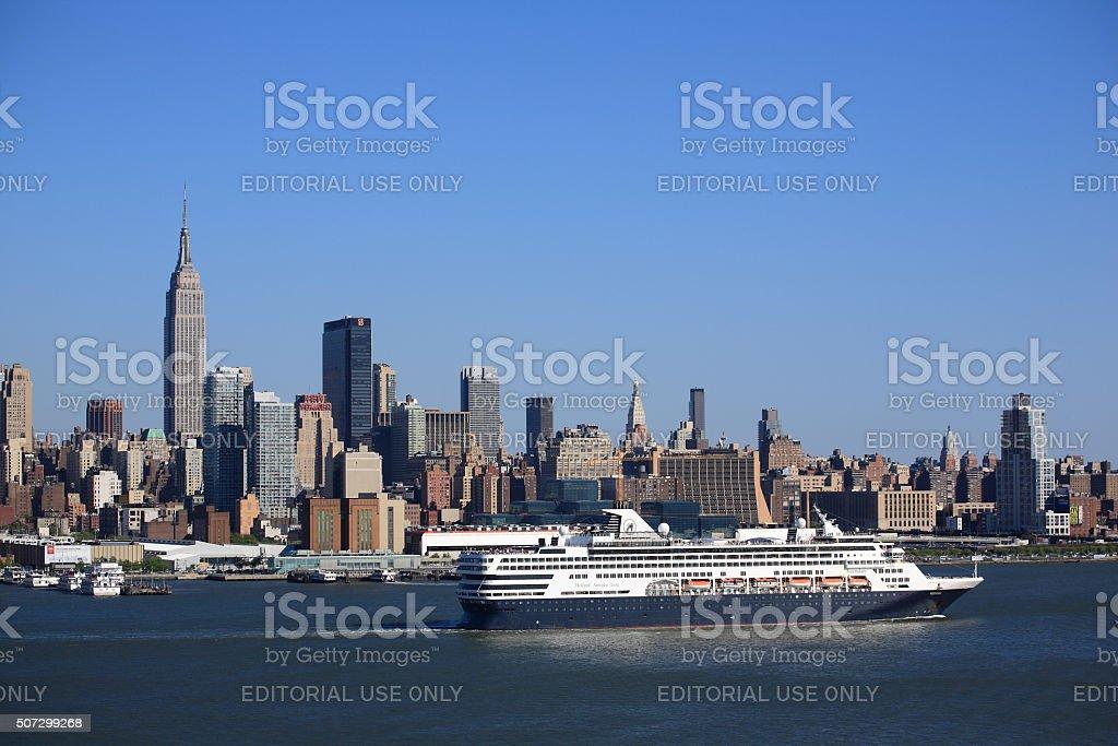 New York City Skyline and Cruise Ship stock photo