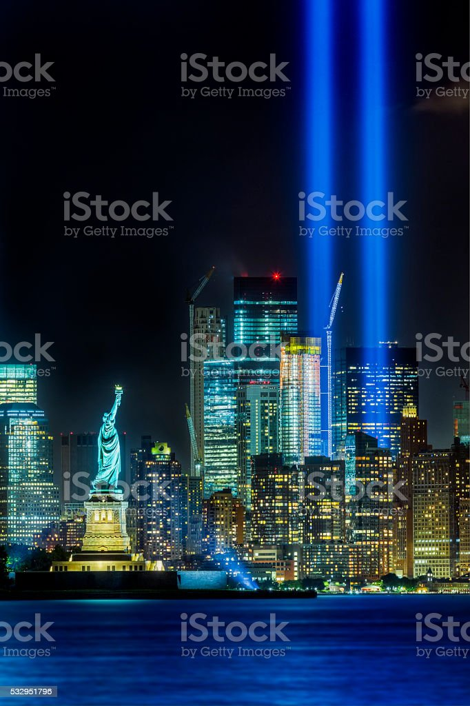 New York City skyline and Statue of Liberty on 911 stock photo