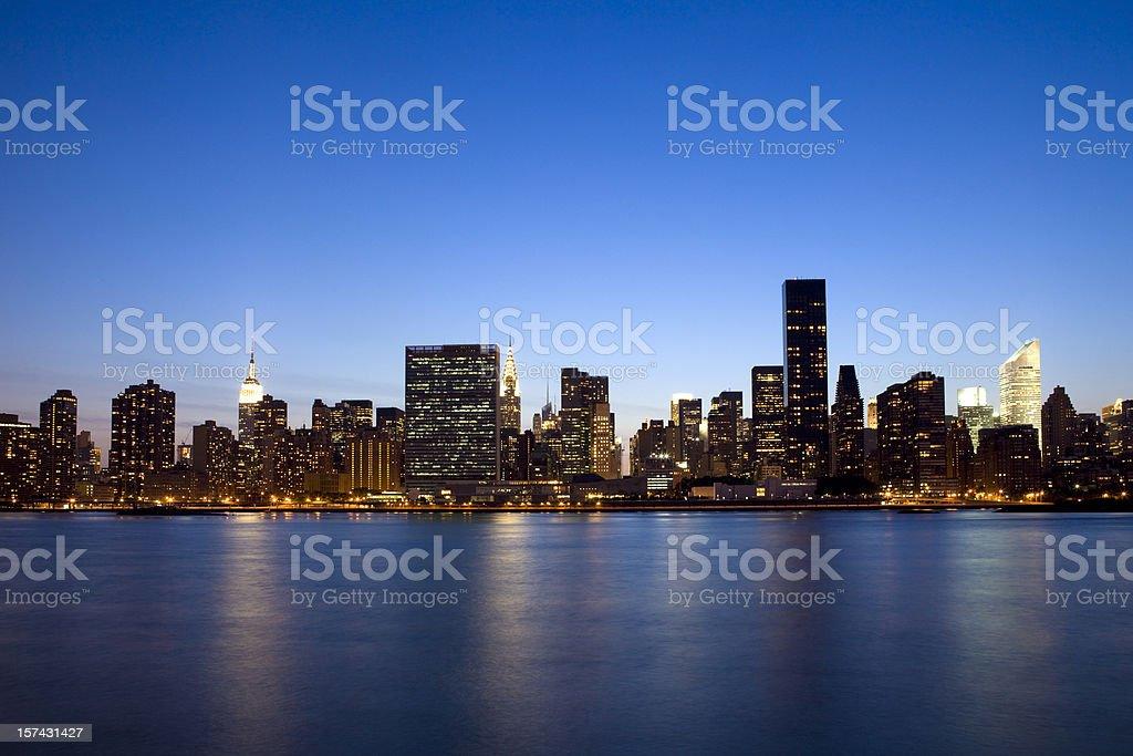 New York City Skyline at Dusk stock photo