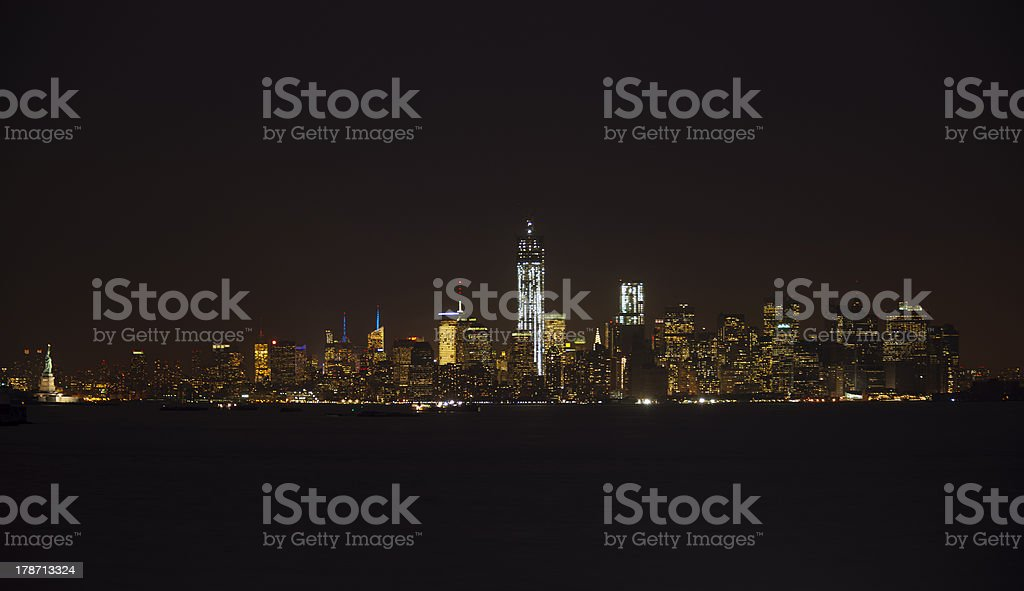 New York City skyline at night from Staten Island royalty-free stock photo
